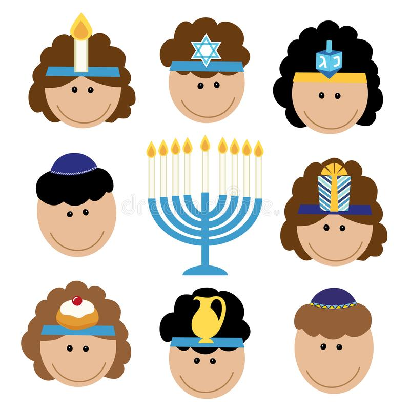 Gulliga le barn som firar Chanukkah vektor illustrationer