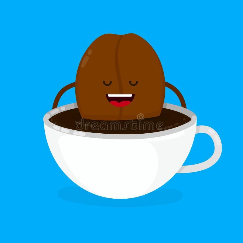 Gulliga le lyckliga lögner för kaffeböna royaltyfri illustrationer