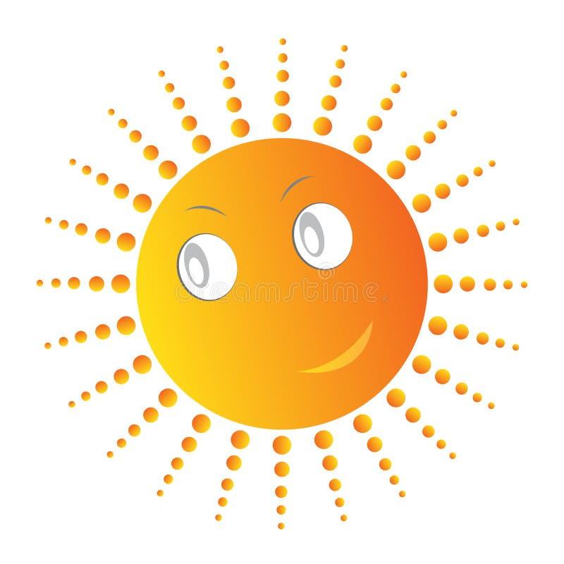 Gulliga le solsolstrålar royaltyfri illustrationer