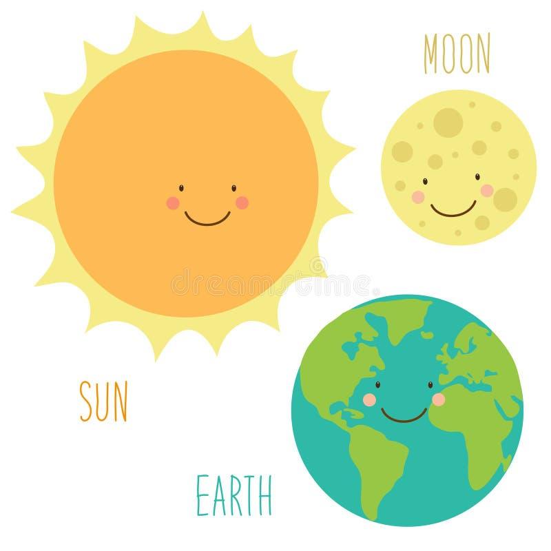 Gulliga le tecknad filmtecken av solen, jord och månen royaltyfri illustrationer