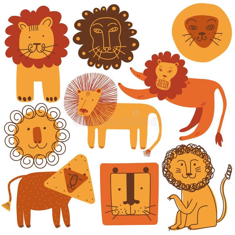 Gulliga lejon ställde in, designbeståndsdelar kan användas för T-tröjatrycket, affischen, kortet, etiketten, emblemvektorillustra royaltyfri illustrationer