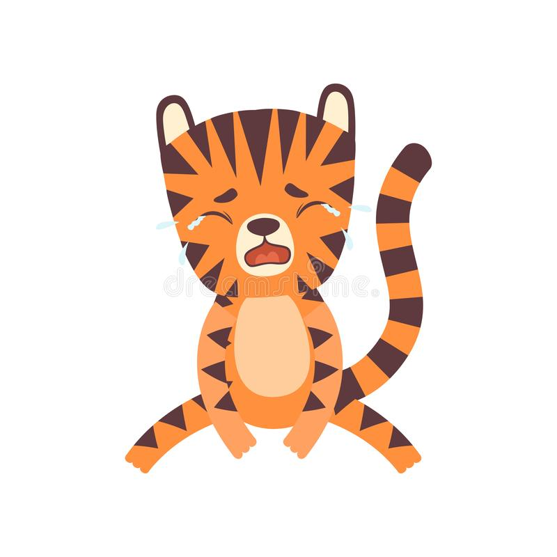 Gulliga lilla olyckliga Tiger Crying, förtjusande lös djur illustration för vektor för tecknad filmtecken stock illustrationer