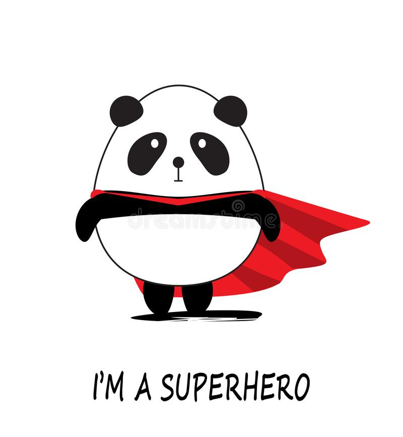 Gulliga lilla Panda Superhero vektor illustrationer