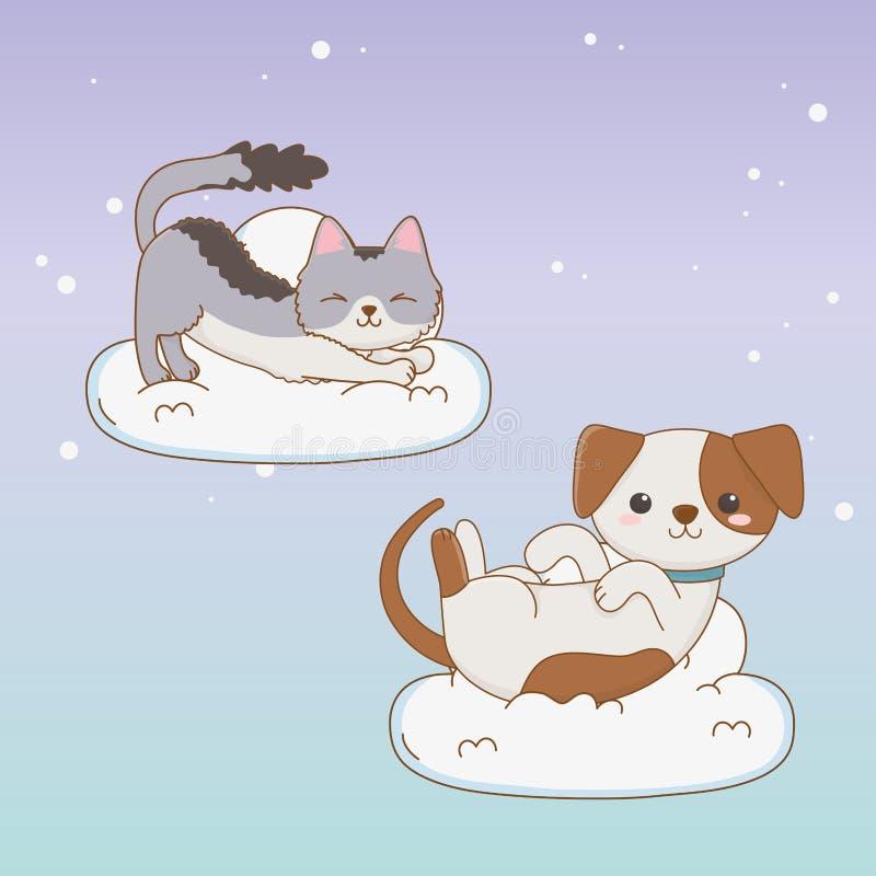 Gulliga liten hund- och kattmaskot som svävar i molnen vektor illustrationer