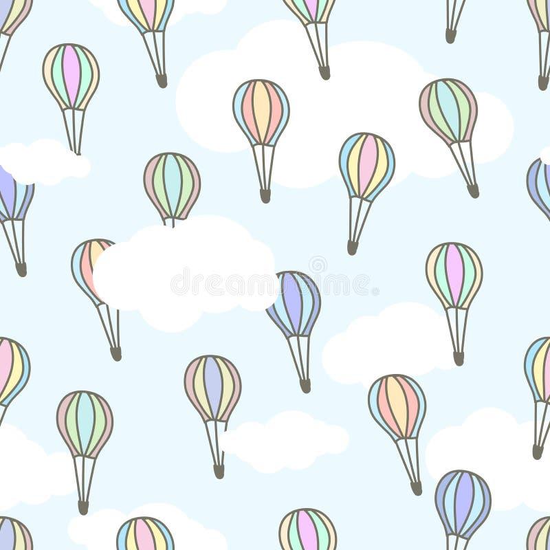 Gulliga luftbaloons av olika färger som flyger i ljuset - blå himmel med vita moln den främmande tecknad filmkatten flyr illustra royaltyfri illustrationer