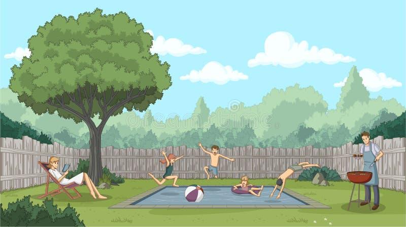 Gulliga lyckliga tecknad filmbarn som hoppar in i en simbassäng vektor illustrationer