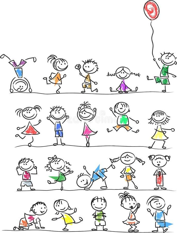 Gulliga lyckliga tecknad filmungar, vektor vektor illustrationer