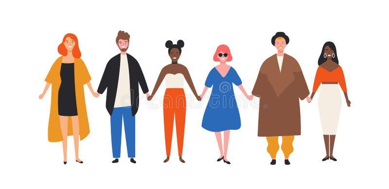 Gulliga lyckliga unga män och kvinnor som rymmer händer Roligt le folk som tillsammans står i rad gladlynt v?ngrupp stock illustrationer
