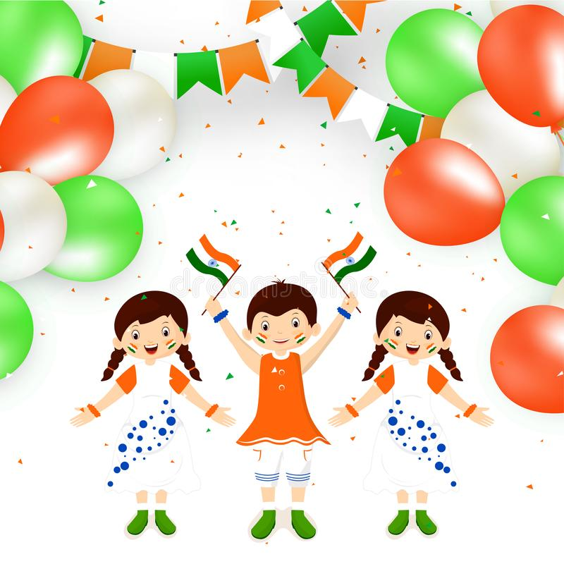 Gulliga lyckliga ungar som rymmer den indiska flaggan och tricolor ballonger stock illustrationer
