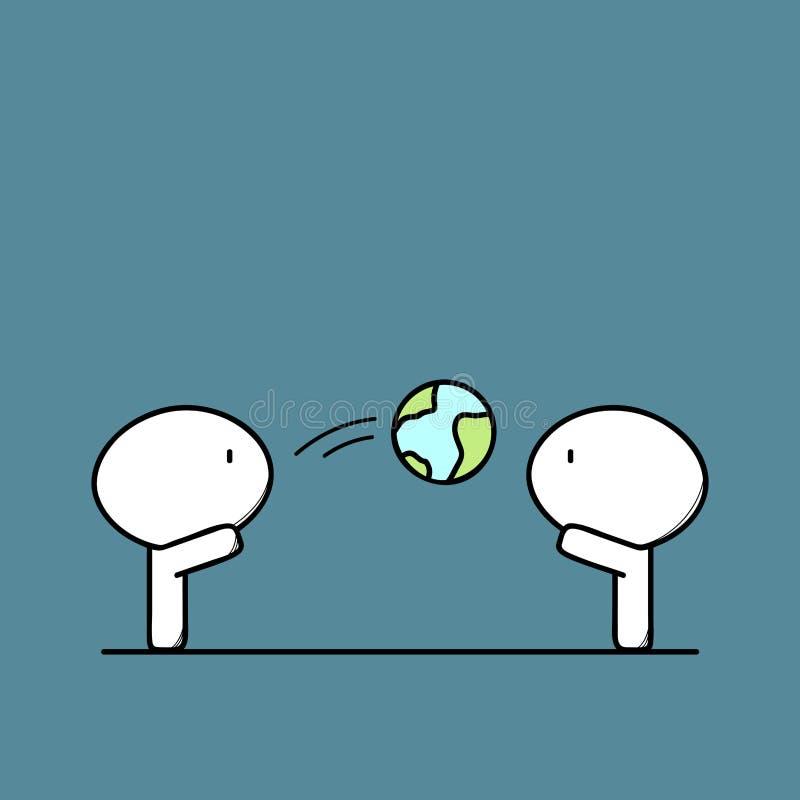 Gulliga män och lek med planetjord vektor illustrationer