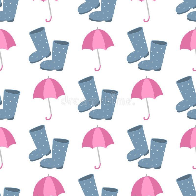 Gulliga mång- kulöra paraplygummistöveler i plan designstil och åtföljande begrepp för höst danar teckenvektorn vektor illustrationer