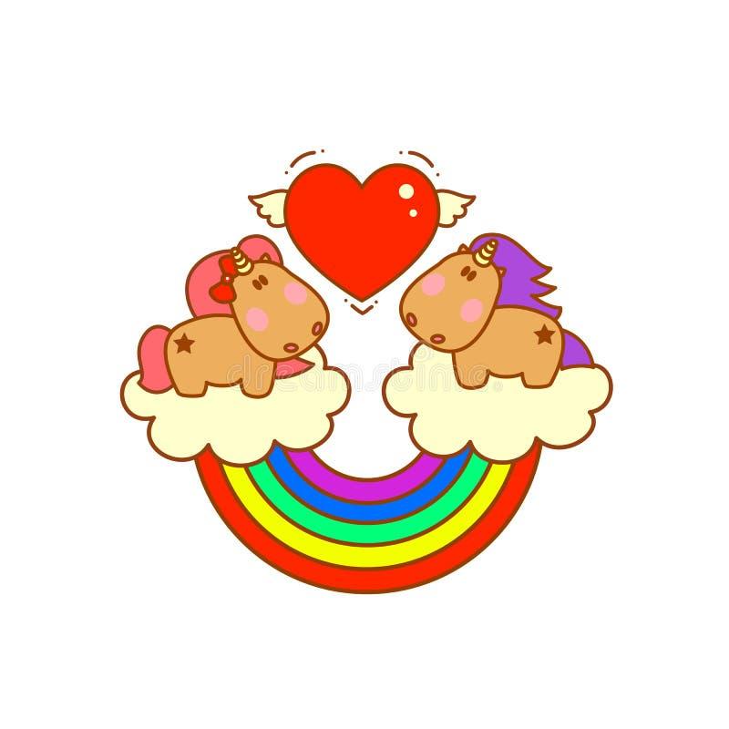 Gulliga magiska enhörningar på moln med den förälskade regnbågenedgången stock illustrationer