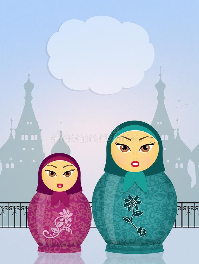 Gulliga Matryoshka dockor royaltyfri illustrationer