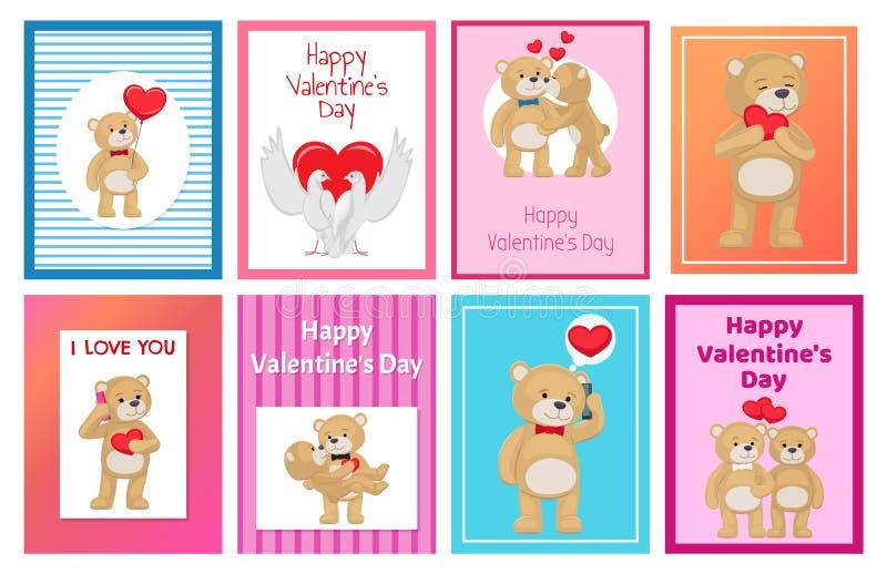 Gulliga mjuka Toy Bears och förälskad uppsättning för vita duvor stock illustrationer