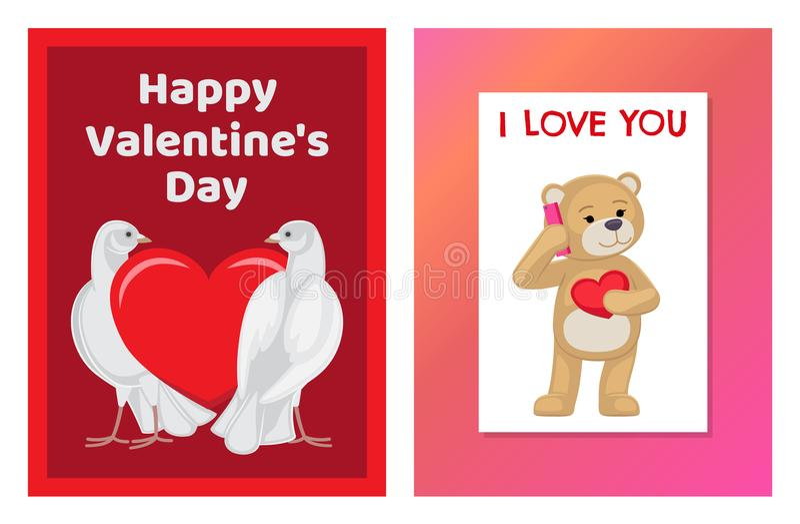 Gulliga mjuka Toy Bears och förälskad uppsättning för vita duvor royaltyfri illustrationer