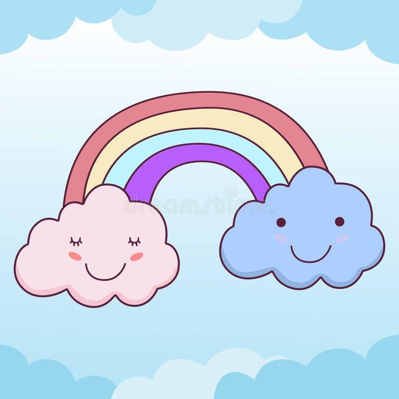 Gulliga moln ler framsidan och regnbågen i klar blå himmel royaltyfri illustrationer