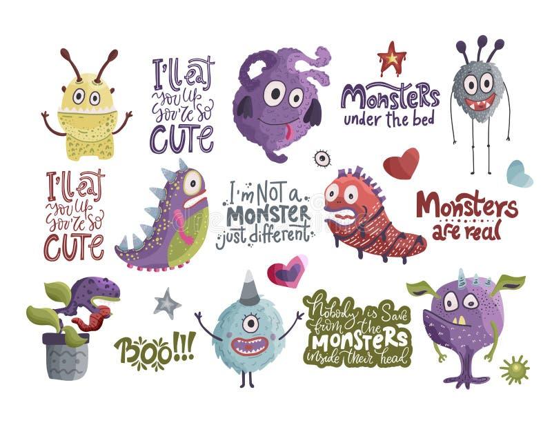 gulliga monster för tecknad film vektor stock illustrationer
