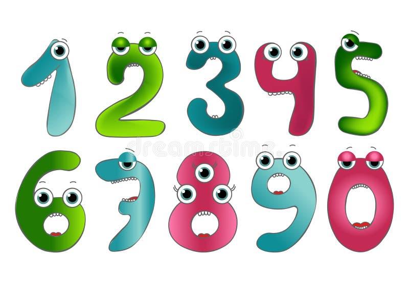 Gulliga monsternummer för rolig vektor Färgrika nummer för matematik och ungeillustration vektor illustrationer