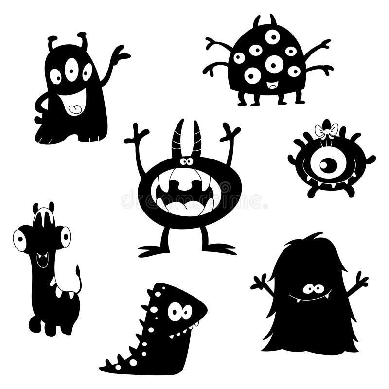 gulliga monstersilhouettes vektor illustrationer