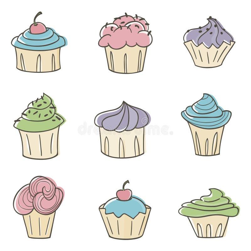 gulliga muffiner vektor illustrationer
