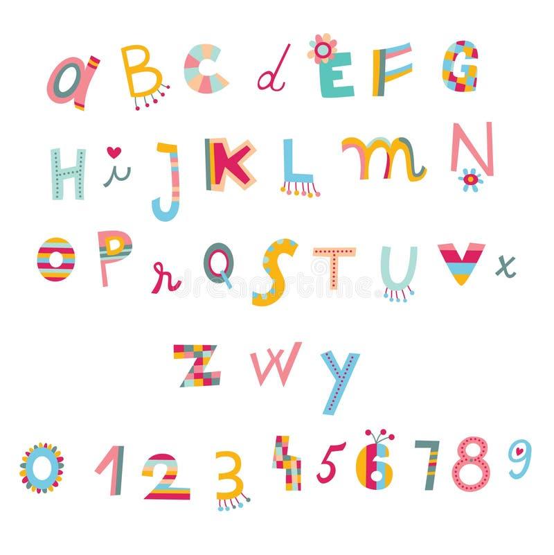 gulliga nummer för alfabet stock illustrationer