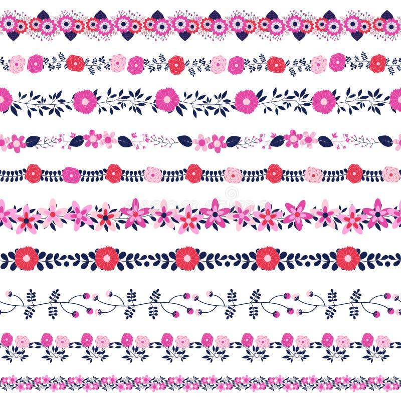 Gulliga och eleganta blom- gränser med purpurfärgade blommor för pinkand och vektor illustrationer