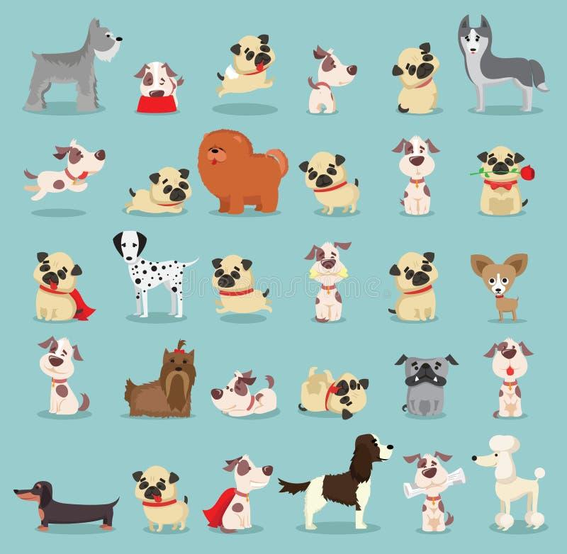 Gulliga och roliga tecknad filmavel av hunden royaltyfri illustrationer