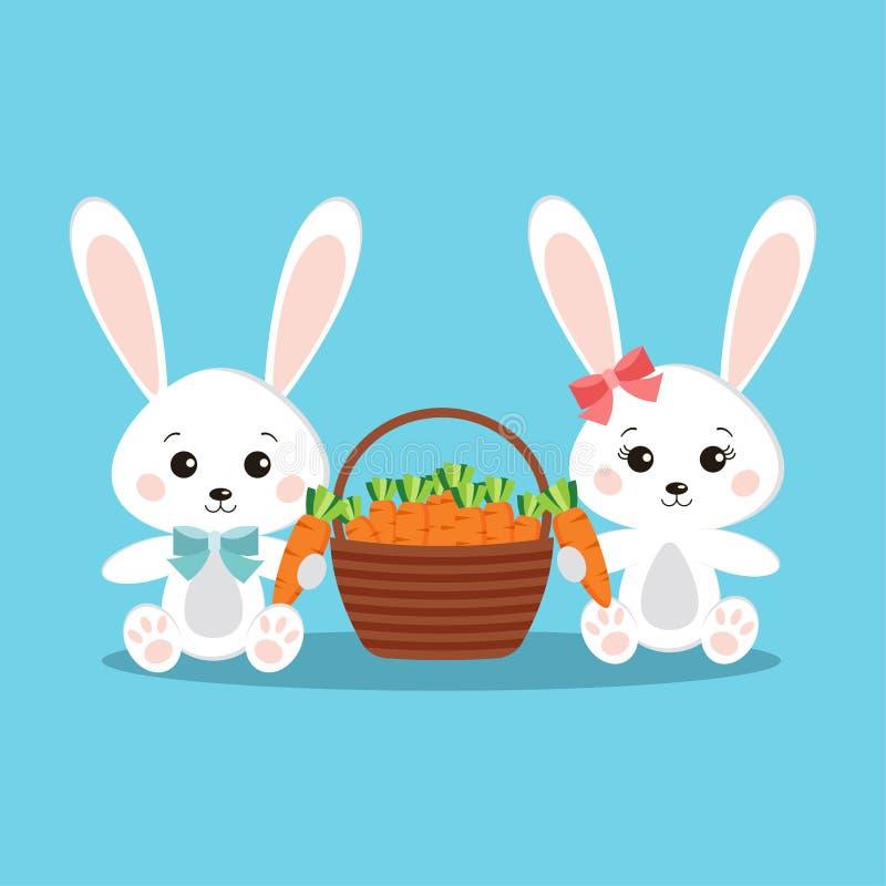 Gulliga och söta vita kaninkaniner pojke och flicka med moroten royaltyfri illustrationer