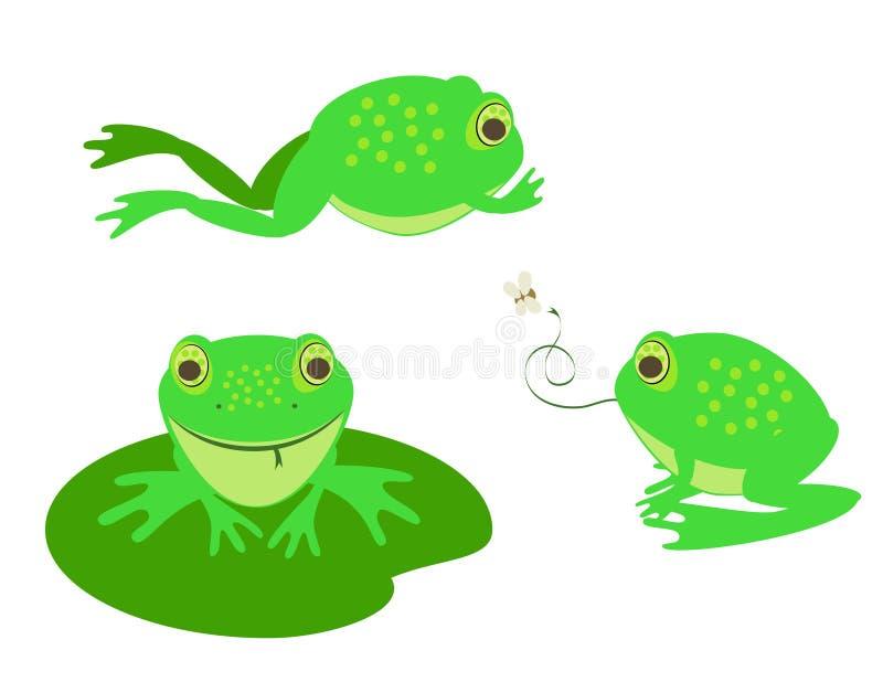gulliga olika grodor stock illustrationer