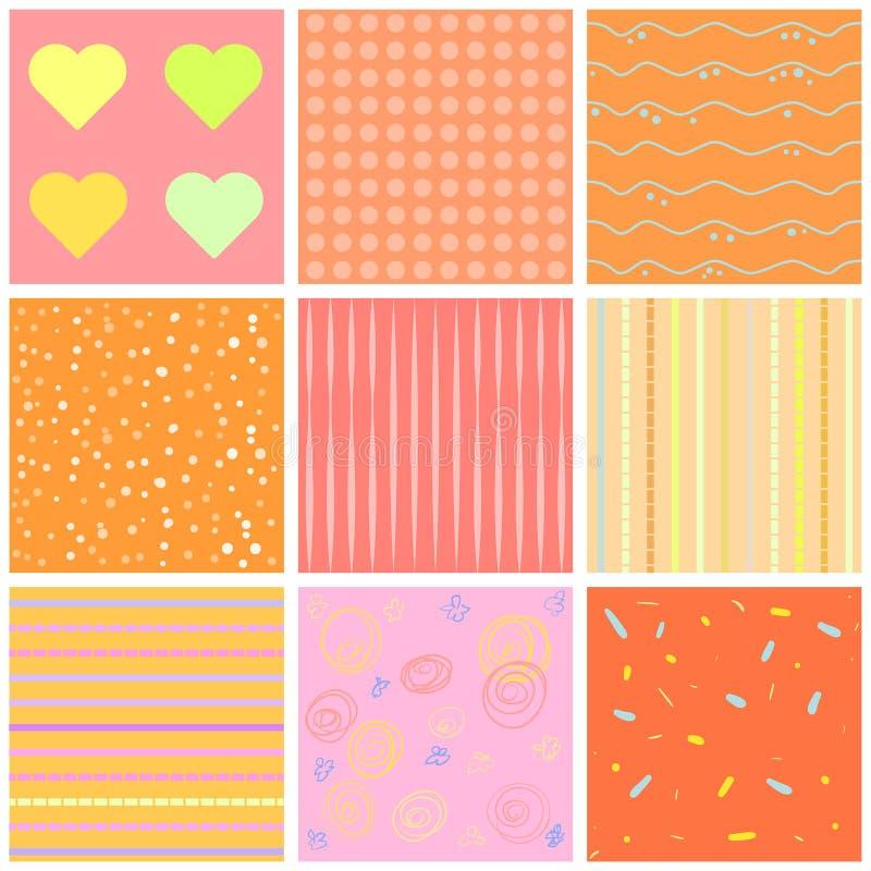 Gulliga olika sömlösa modeller rosa white Ändlös textur kan användas för den söta romantiska tapeten, modellpåfyllning, w royaltyfri illustrationer