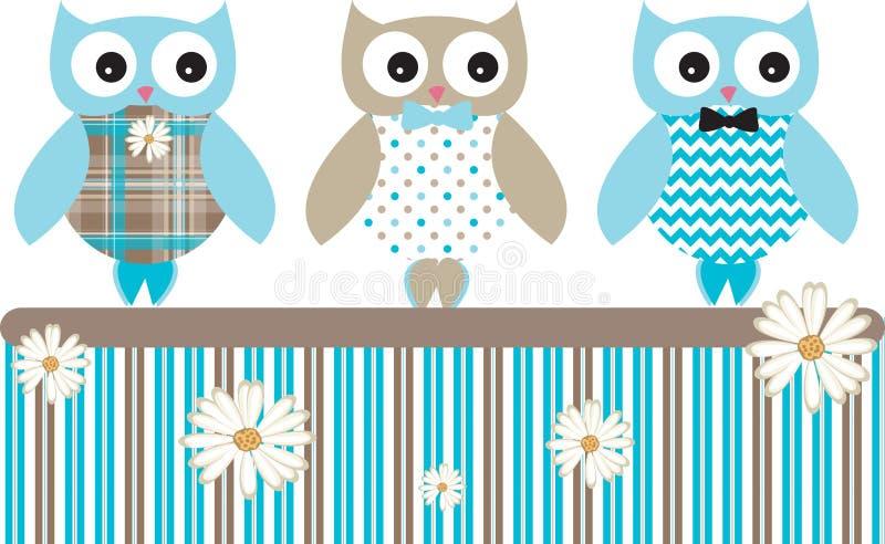 Gulliga Owl Vector Patterns Fence vektor illustrationer
