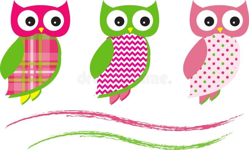 Gulliga Owl Vector Patterns Pink vektor illustrationer