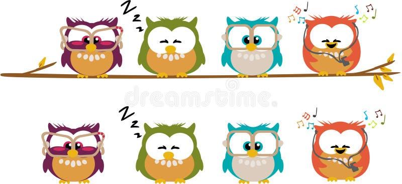 gulliga owls för tecknad film vektor illustrationer