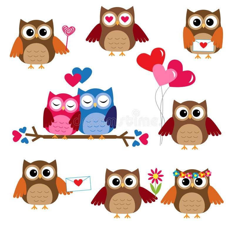 Gulliga owls för valentindag vektor illustrationer