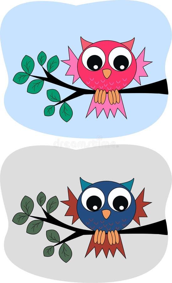 gulliga owls två royaltyfri illustrationer