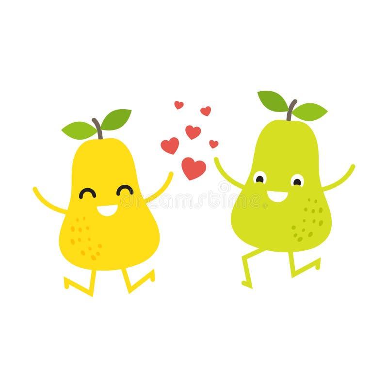 Gulliga päronpar för valentindagkort stock illustrationer
