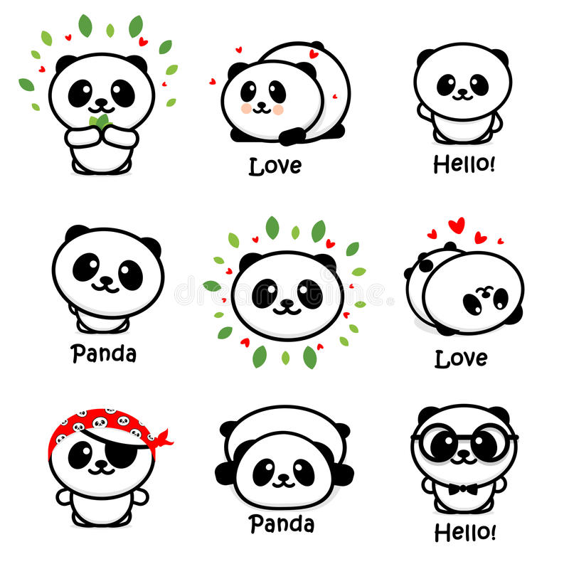 Gulliga Panda Asian Bear Vector Illustrations, samling av kinesiska djur enkla Logo Elements, svartvita symboler vektor illustrationer