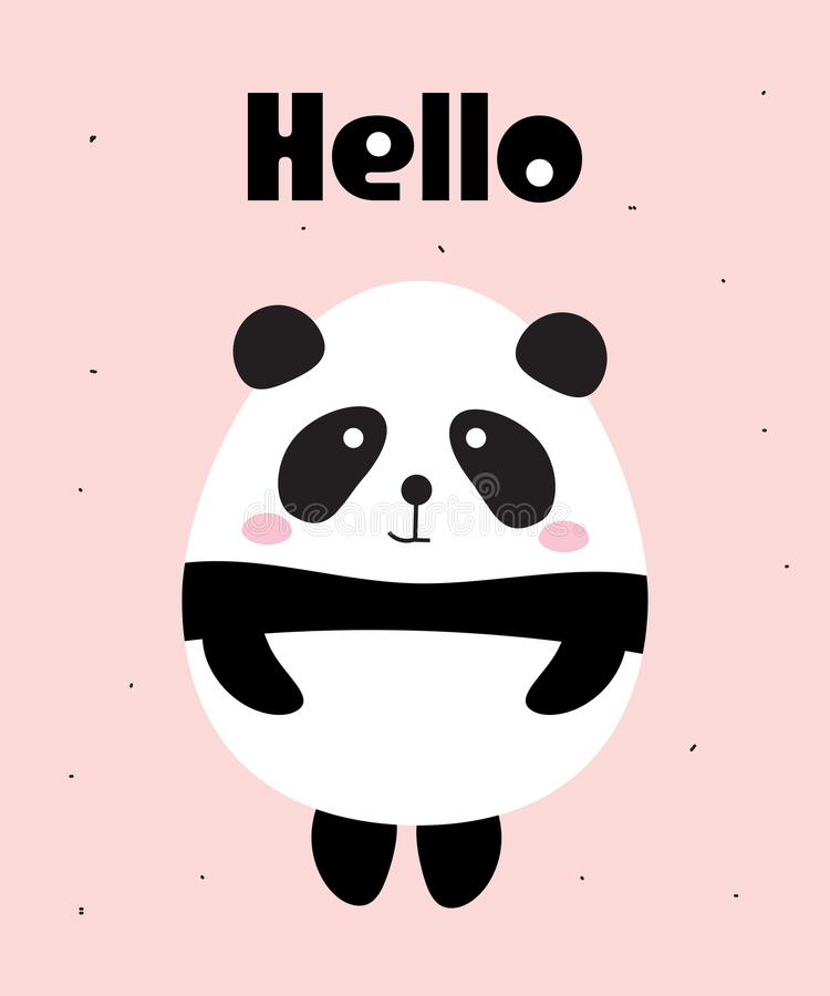 Gulliga Panda Bear Say Hello vektor illustrationer
