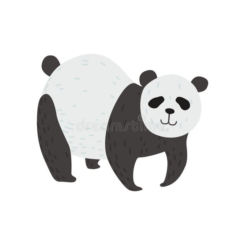 Gulliga Panda Bear Standing på fyra ben, lycklig älskvärd djur teckenvektorillustration vektor illustrationer
