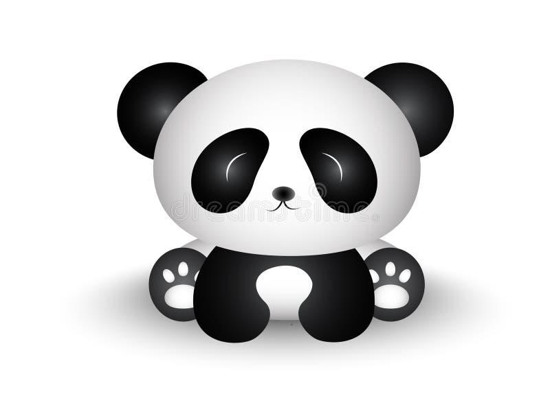 Gulliga Panda Cartoon Sitting med hans främsta kropp stock illustrationer