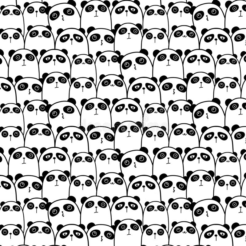 Gulliga Panda Vector Pattern Background stock illustrationer