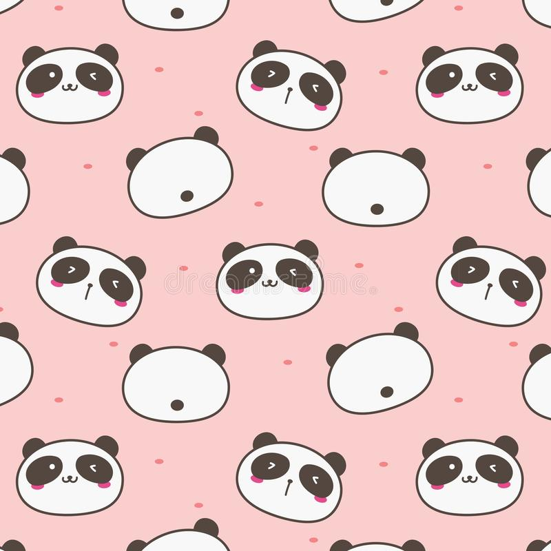 Gulliga Panda Vector Pattern Background Roligt klotter royaltyfri illustrationer