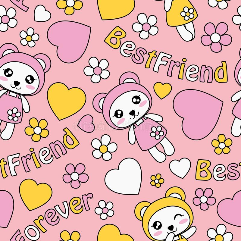 Gulliga pandaflickor, förälskelse och blommor på rosa modell för bakgrundsvektortecknad film royaltyfri illustrationer