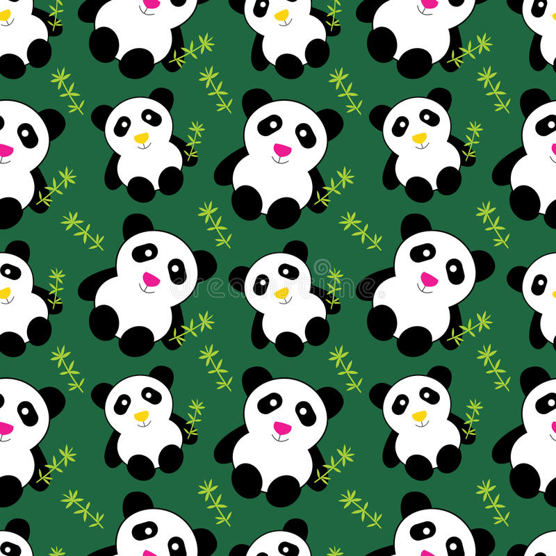 gulliga pandas mönsan seamless stock illustrationer