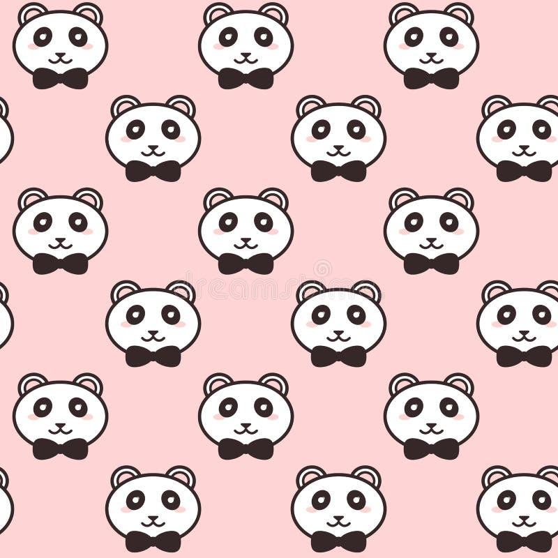 Gulliga pandor för vektor med svartpilbågemodellen vektor illustrationer