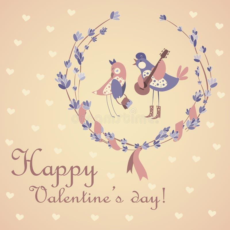 Gulliga par av fåglar som firar valentin dag stock illustrationer