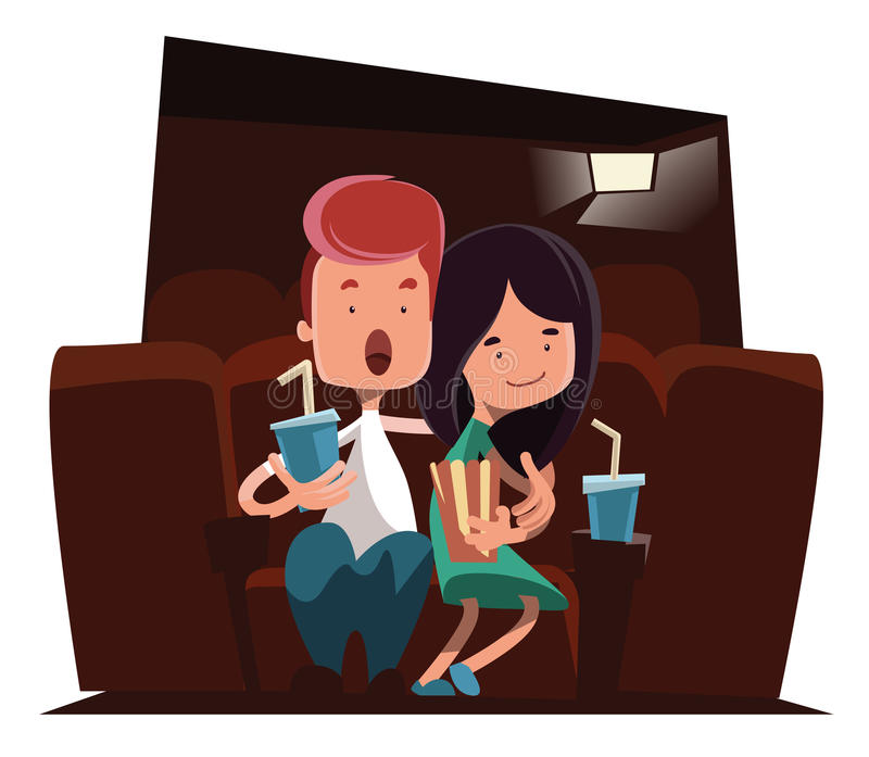 Gulliga par på teckenet för tecknad film för bioteaterillustration vektor illustrationer
