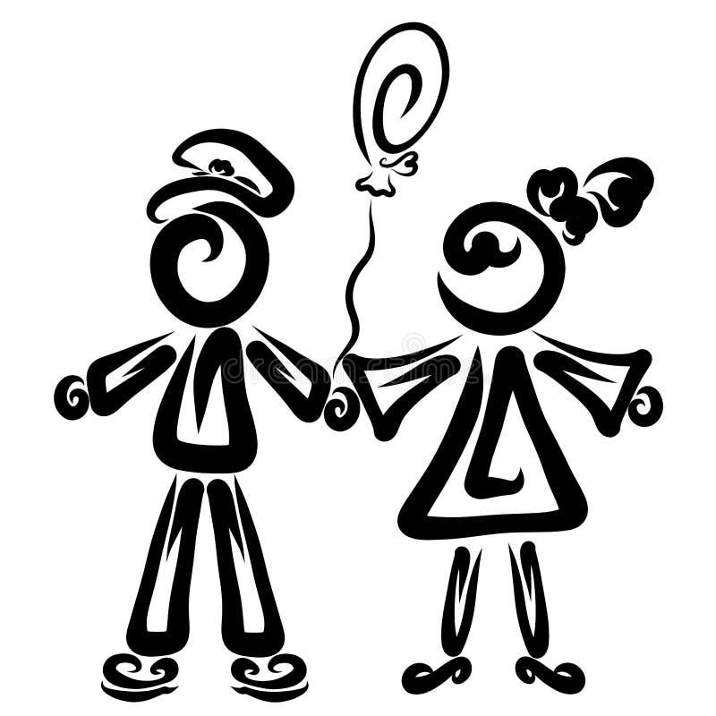 Gulliga par, pojke och flicka med en ballong i deras händer vektor illustrationer