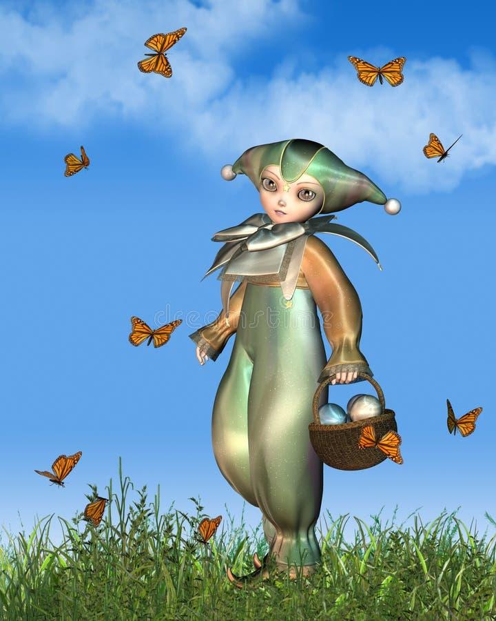 Docka för påskPierrot clown med fjärilar stock illustrationer