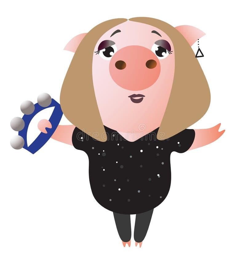 Gulliga piggy allsånger och lekar på tamburin vektor illustrationer